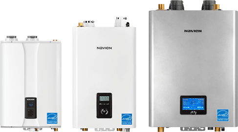 Tankless water heaters. This is a photo of 2 tankless water heaters and one condensing boiler. All of the units are navien. Tankless water heaters provide unlimited hot water, on demand hot water, they last longer than a tank water heater. Tankless water heaters are mounted to the wall and can clear up a lot of space for you.